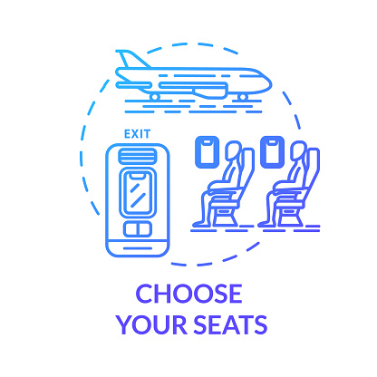 Choose Your Seats Concept Icon Airplane Tickets Booking Idea Thin Line Illustration Passenger Transport Seat Map Traveling By Plane Vector Isolated Outline Rgb Color Drawing — стоковая векторная графика и другие изображения на тему Абстрактный