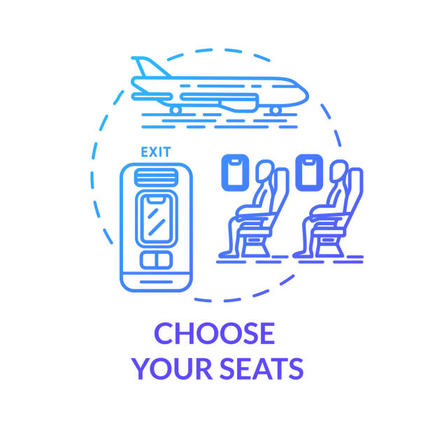 choose your seats concept icon. airplane tickets booking idea thin line illustration. passenger transport seat map. traveling by plane. vector isolated outline rgb color drawing - airplane seat stock illustrations