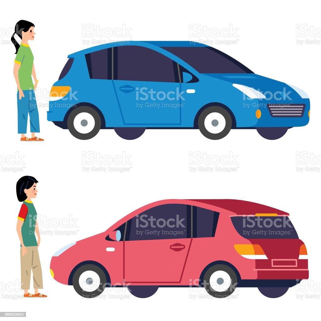 Choosing a new car vector art illustration