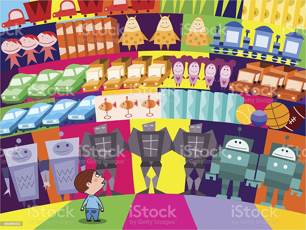 Choosing a new toy royalty-free stock vector art