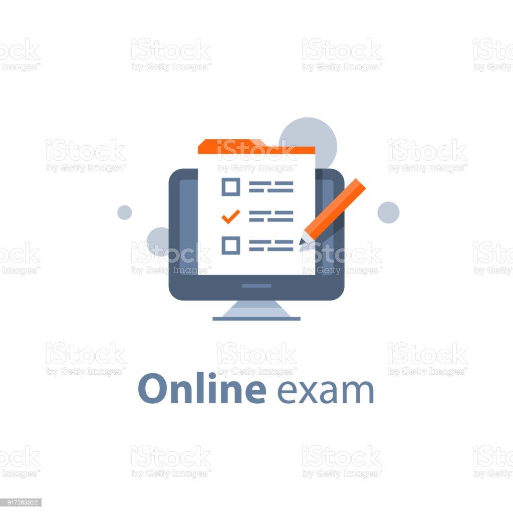 Choosing answer, questionnaire form, exam preparation, online test, checklist  on monitor vector art illustration