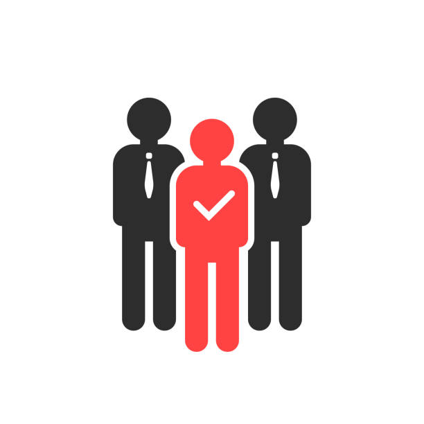 choosing best employee for job vector art illustration