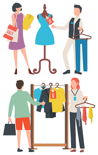 Choosing Clothes, People Shopping, Retail Vector