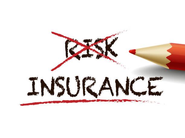 entscheiden sie sich für die versicherung statt risiko mit einem roten stift - abenteuer stock-grafiken, -clipart, -cartoons und -symbole