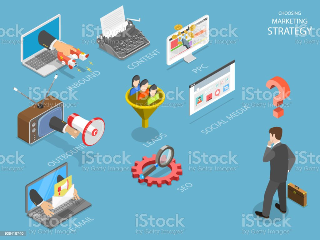 Choosing marking strategy flat isometric vector. vector art illustration