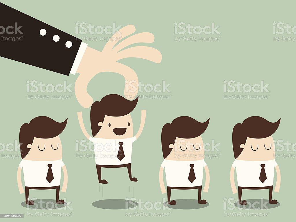 choosing worker vector art illustration