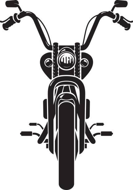 Chopper Motorcycle Front vector art illustration