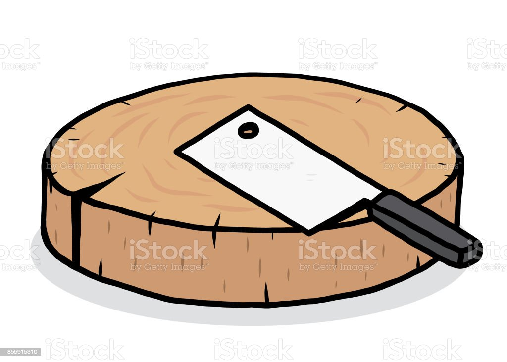 chopping block and kitchen knife vector art illustration