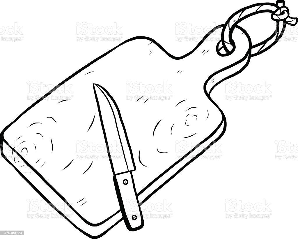 chopping block and knife vector art illustration