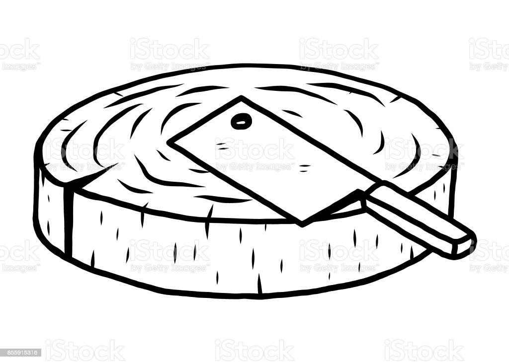 chopping block vector art illustration