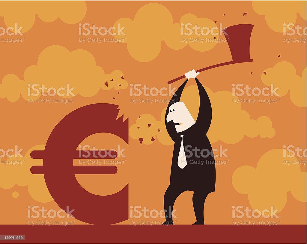 Chopping Euro down royalty-free stock vector art
