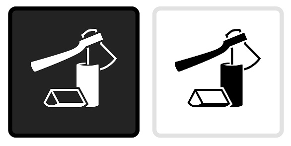Chopping Logs Icon on  Black Button with White Rollover. This vector icon has two  variations. The first one on the left is dark gray with a black border and the second button on the right is white with a light gray border. The buttons are identical in size and will work perfectly as a roll-over combination.