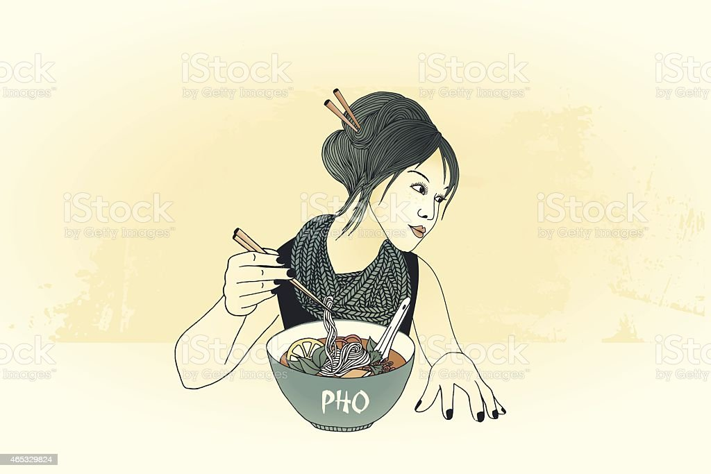 Chopstick girl vector art illustration