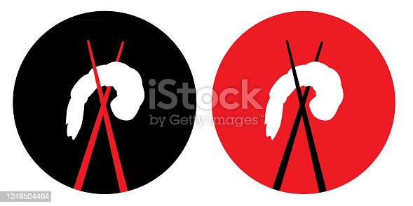 istock Chopsticks And Shrimp Icons 1249504464