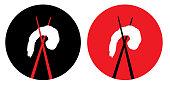 istock Chopsticks And Shrimp Icons 1249504464