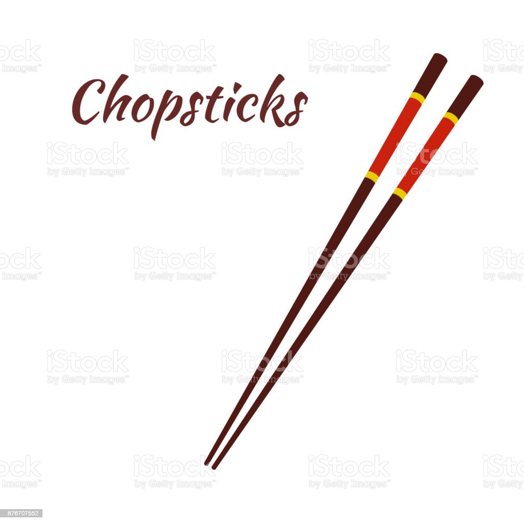 Chopsticks for asian food, japanese noodles. Cartoon flat style. Vector vector art illustration