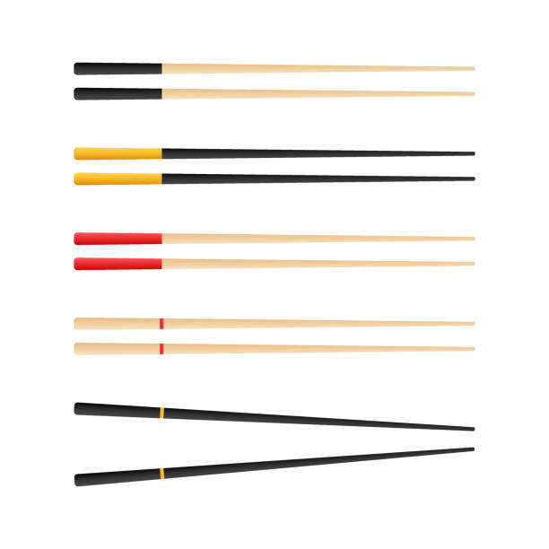 chopsticks holding sushi roll. concept of snack, sushi, exotic nutrition, sushi restaurant. vector stock illustration. - sushi stock illustrations