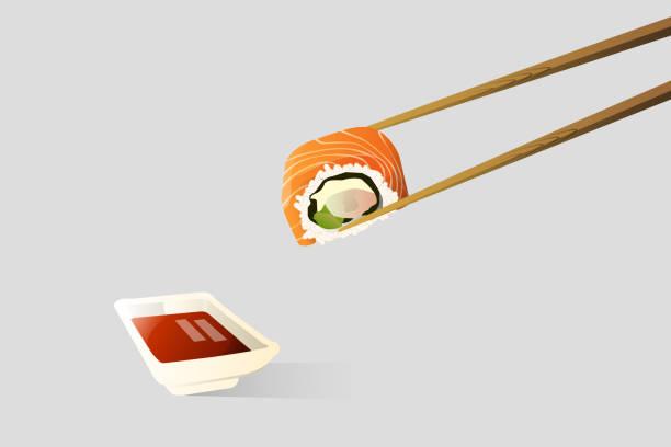 筷子正在鉗子浸在醬油中的壽司。 - bar 幅插畫檔、美工圖案、卡通及圖標