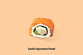 Chopsticks is tonging a sushi dipped in soy sauce.Japanese Food and Vector file.