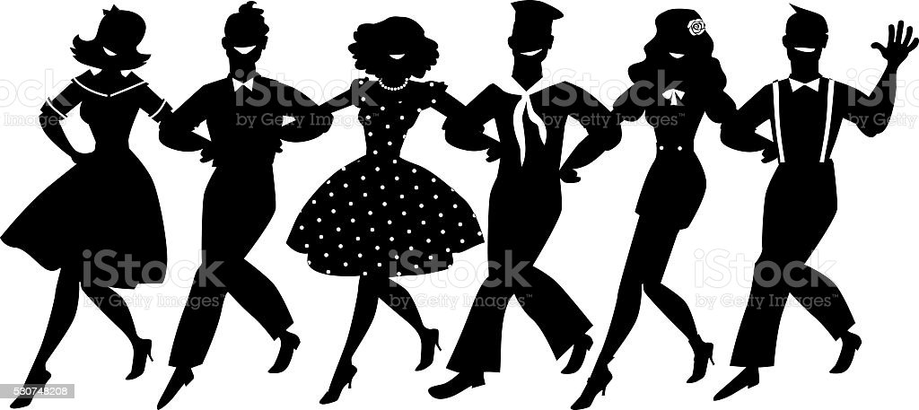 Chorus line clip-art vector art illustration