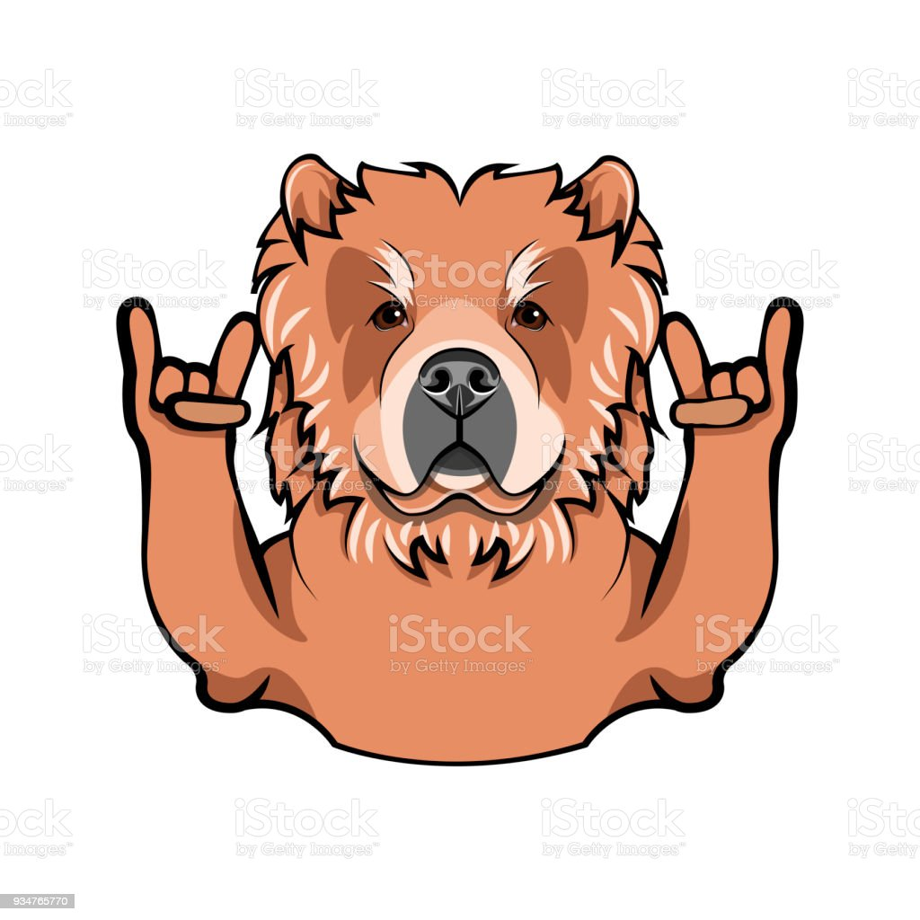 Chow Chow With Horns Rock Gesture Dog Breed Vector Illustration