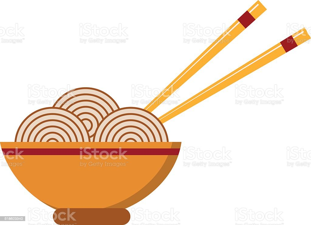 Chow Mein: fried noodles with chicken and vegetables chinese food vector art illustration