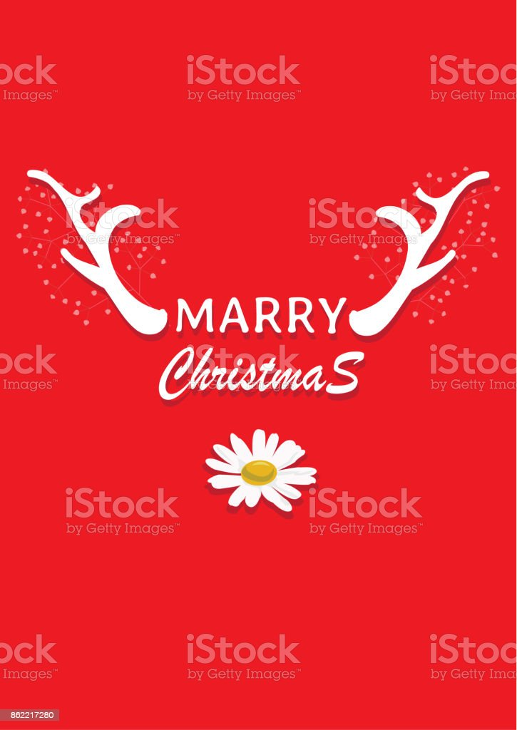 Chrismas card and New year card. The card white reindeer design is vector for card. the vector is not trace or copy image. vector art illustration