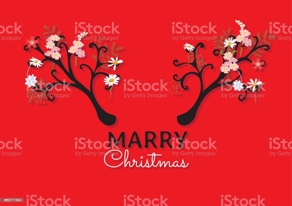 Chrismas card and New year card. The reindeer design white black antler and flower is vector for card. the vector is not trace or copy image. vector art illustration