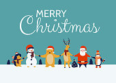 Christmas greeting card with cute animal characters. Funny Bear, Penguin, Santa Claus, Reindeer, Snowman, Hedgehog holding hands. Colorful vector illustration.