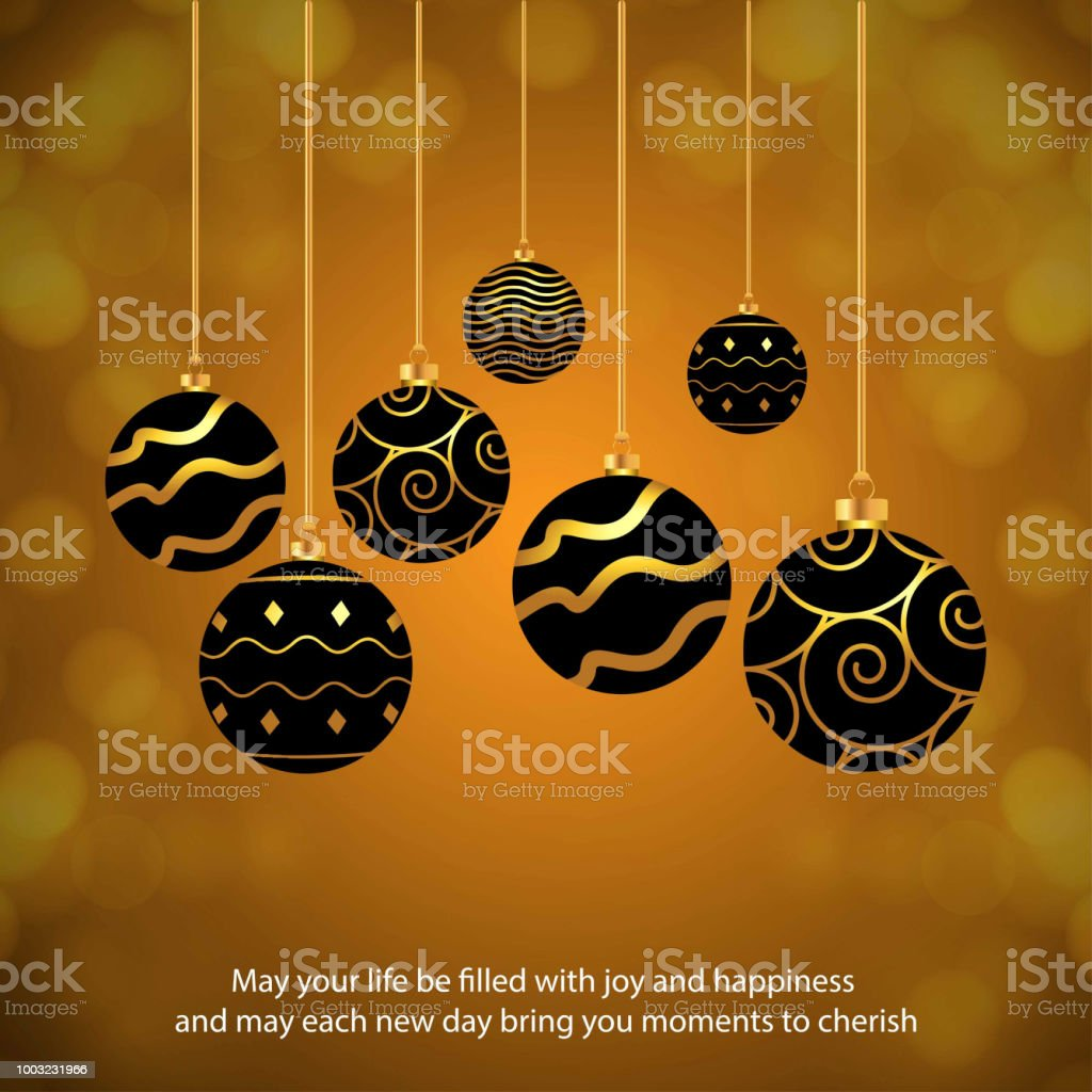 Chrismtas card with balls and typographic vector art illustration
