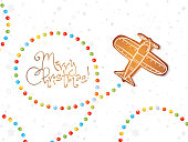 Chrismtas card with gingerbread airplane and sugar candies on white background with snowflakes