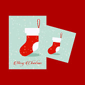 Chrismtas card with socks and red background. For web design and application interface, also useful for infographics. Vector illustration.