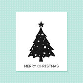 Chrismtas card with tree and pattern background. For web design and application interface, also useful for infographics. Vector illustration.