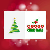 Chrismtas card with tree and red background. For web design and application interface, also useful for infographics. Vector illustration.