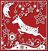Chrismtas composition in square for laser cutting. Running deer, chrismtas moon face and small elements for winter cards. Monochrime ornamental simple drawing