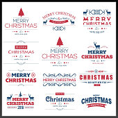 Chrismtas typographic sets red and white. For web design and application interface, also useful for infographics. Vector illustration.