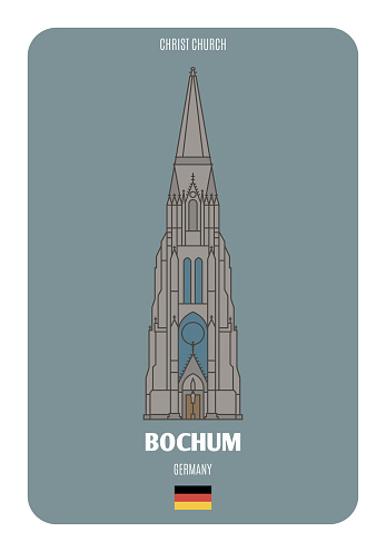 Christ Church in Bochum, Germany. Architectural symbols of European cities