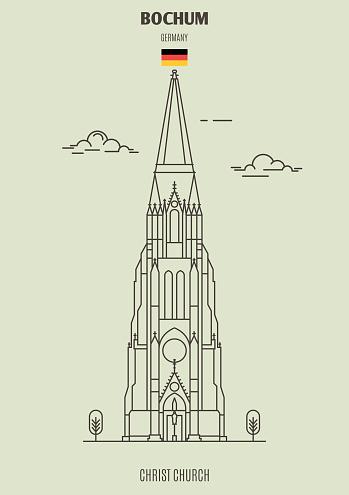 Christ Church in Bochum, Germany. Landmark icon