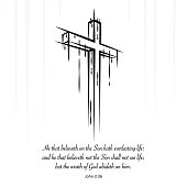 Christ cross crucifix sketch Christian scripture. John 3:36
