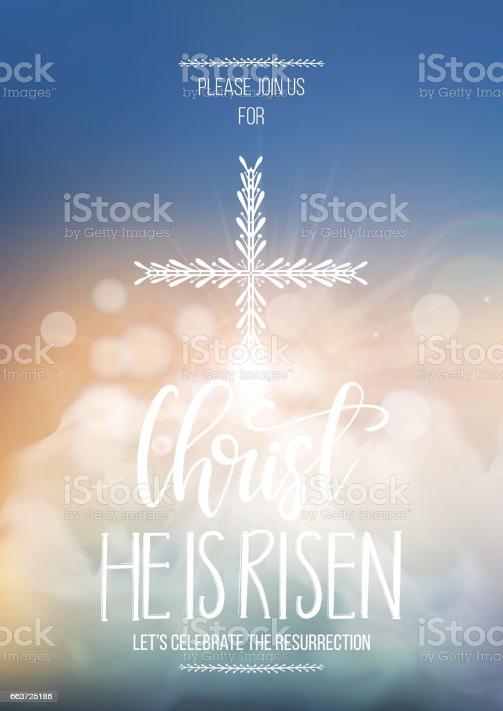 Christ He is risen, vector Easter religious poster template vector art illustration