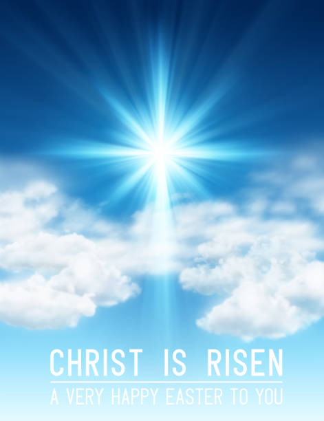 Christ is Risen Easter Background Easter background with light and cross of rays and light in sky with clouds. EPS contains transparency. god stock illustrations