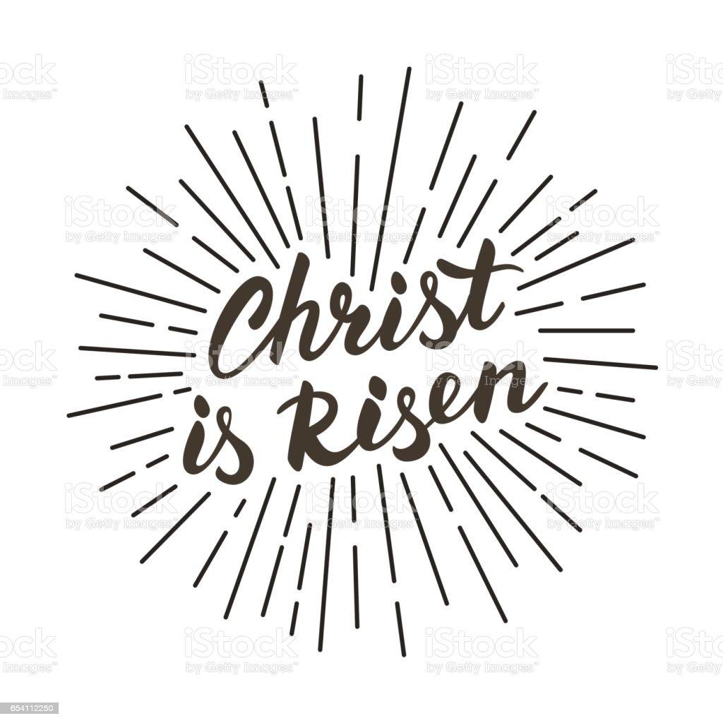 Christ is risen! Modern black and white lettering poster. vector art illustration