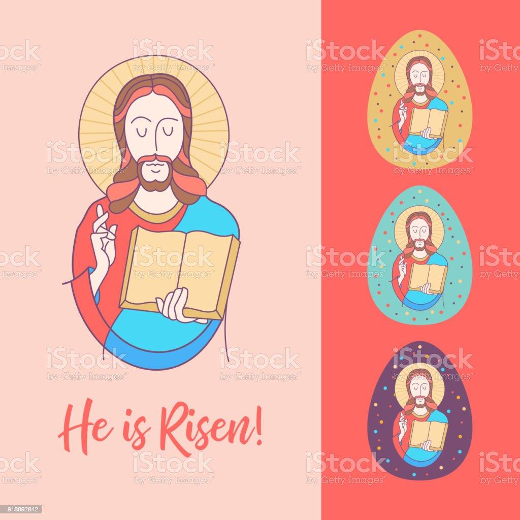Christ Is Risen Vector Illustration Jesus Christ Stock Vector Art ...