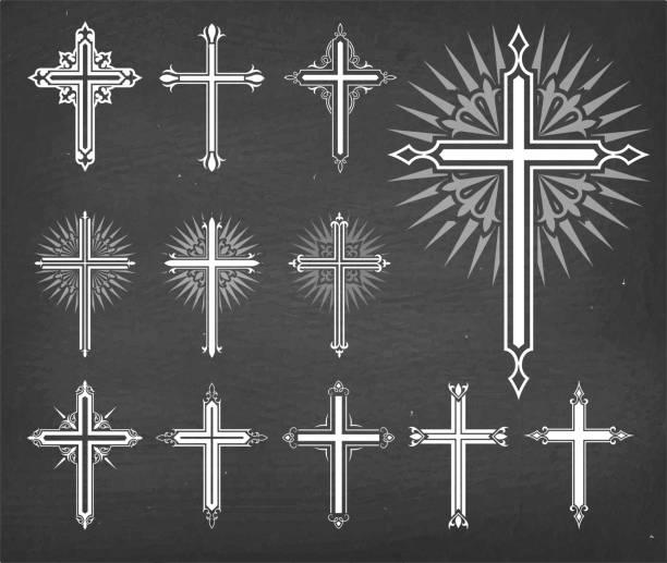 christaian religious crosses vector set on black chalkboard - religious symbols stock illustrations, clip art, cartoons, & icons