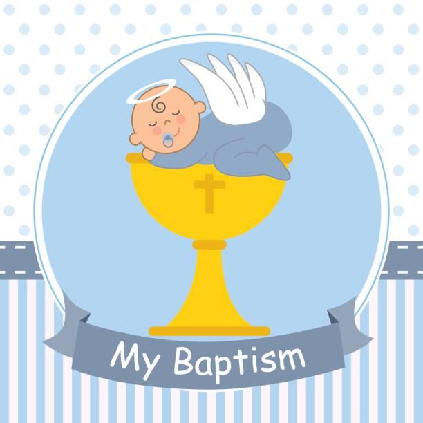 Christening card vector art illustration