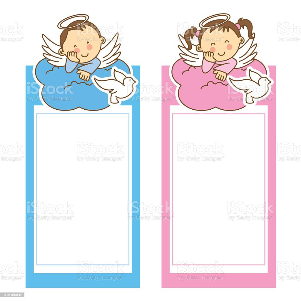 christening girl and boy vector art illustration