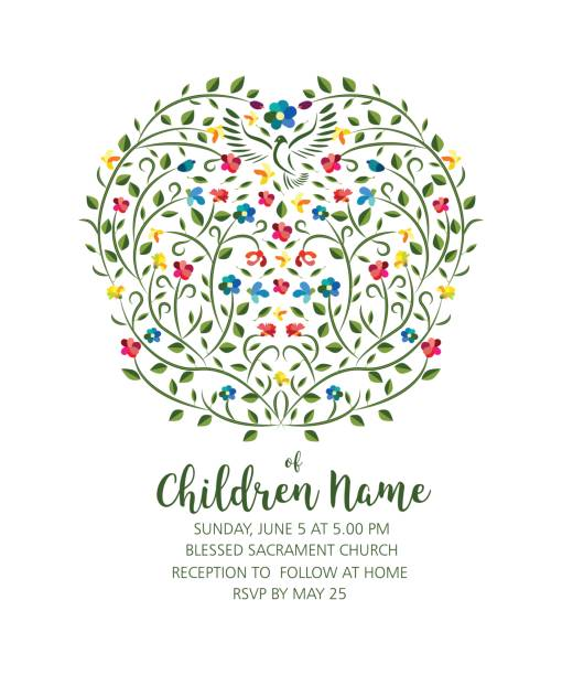 Christening Invite - Invitation Template with Pigeon and Flowers - ilustração de arte vetorial