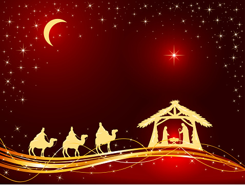 Christian Christmas Background With Birth Of Jesus And ...