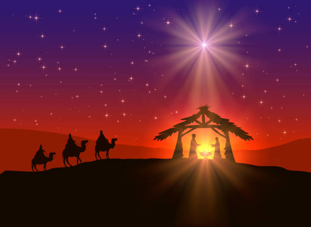 Christian Christmas background with star Abstract background, Christian Christmas scene with shining star in the sky, birth of Jesus, and three wise men on camels, illustration..This is EPS10 file. Illustration contains a transparency blends.  nativity silhouette stock illustrations