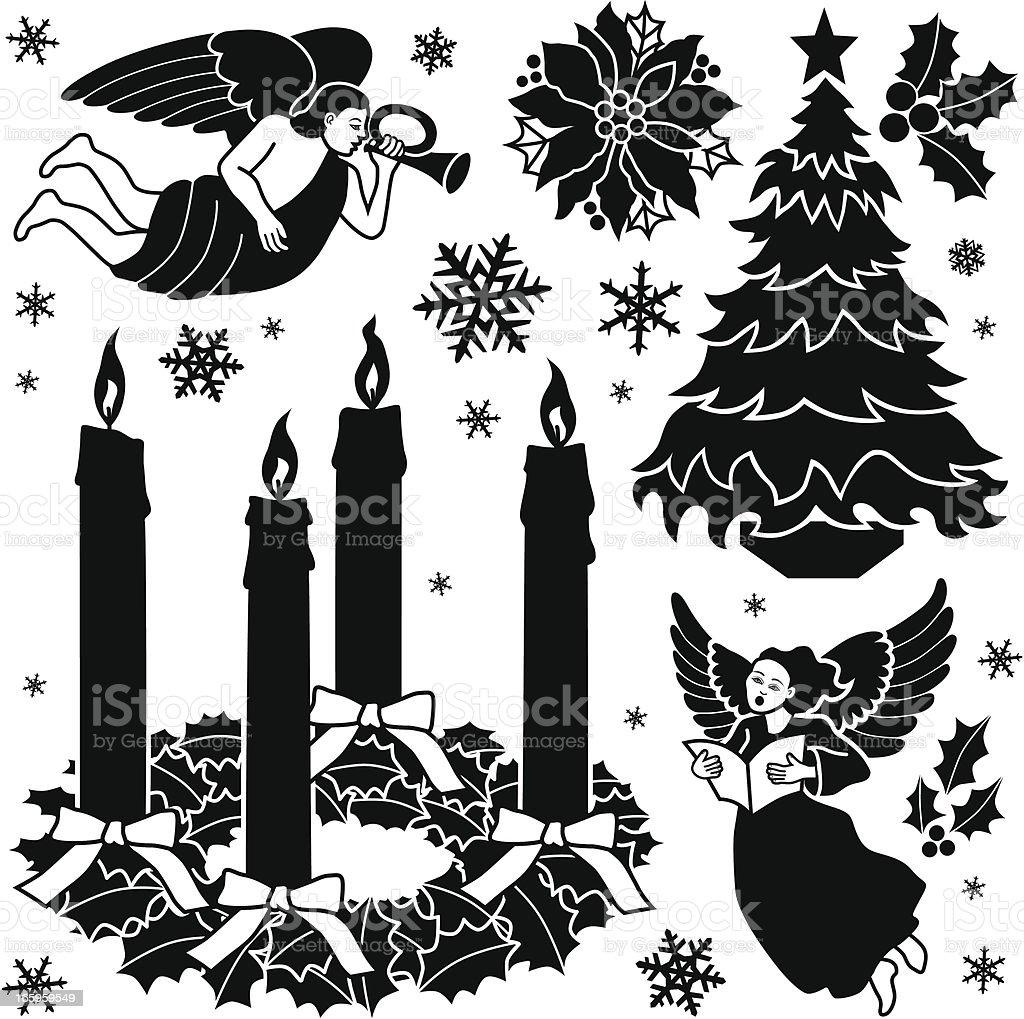 Elementos de diseño de Navidad Cristiana - ilustración de arte vectorial